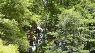 Mike on the first zipline at Go Ape in Delaware