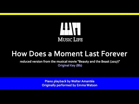 How Does a Moment Last Forever (MontMartre) - Piano playback for Cover / Karaoke