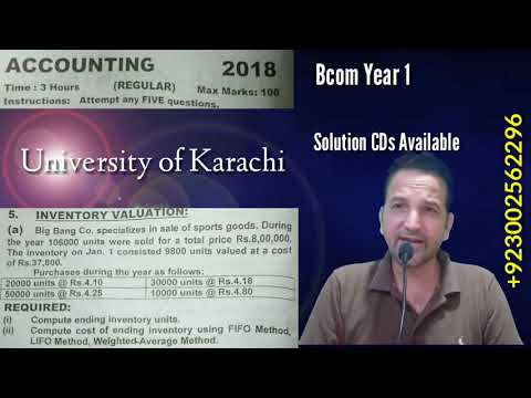 Periodic Inventory System, Bcom Part 1, Year 2018, Karachi University, Bcom Past Papers Solutions