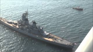 USS Iowa (BB-61) arrives in San Pedro, Aerial view of the battleship.