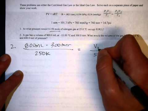Mixed Gas Laws Worksheet Tutorial - YouTube