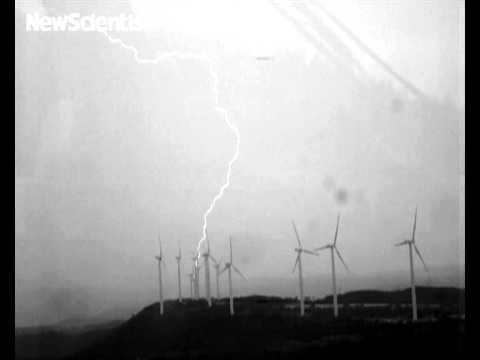 Spinning wind turbines spark clockwork lightning
