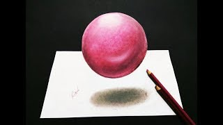 How to draw 3D sphere   Step by step 3d drawing of a sphere   Levitating ball drawing