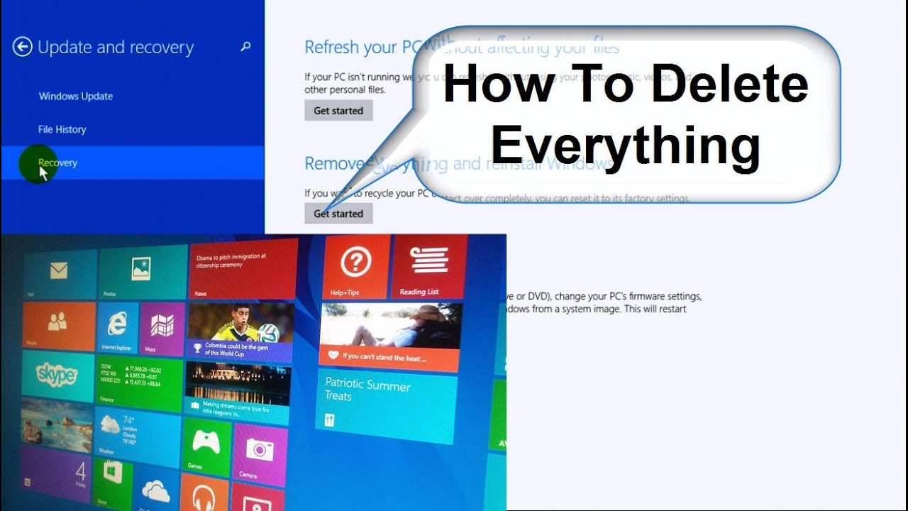 How To Wipe A Computer Clean And Start Over Windows 8 1 Free Easy Youtube
