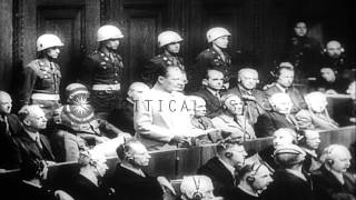 Nazi war criminals tried at the Palace of Justice in Nuremberg, Germany. HD Stock Footage