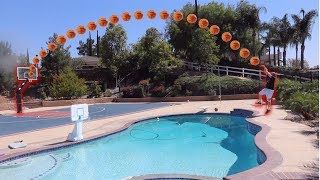 BASKETBALL TRICKSHOTS! H.O.R.S.E CHALLENGE! LOSER JUMPS IN POOL *WITH CLOTHES*