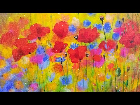 Easy Bright Floral Poppies Acrylic Painting Tutorial LIVE Step By Step