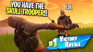 KID FREAKS OUT OVER SKULL TROOPER SKIN ON FORTNITE! (Helping Him WIN!)