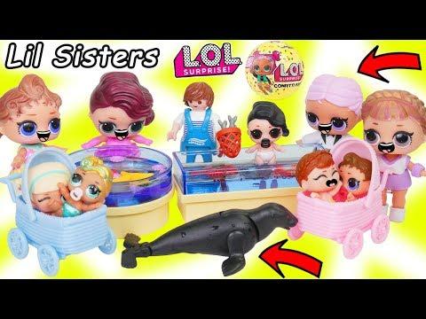 LOL Surprise Dolls + Lil Sisters Visit Aquarium Field Trip in Baby Strollers