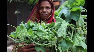 Village Food | Without oil shak and chapa sutki | Grandmother recipes-96