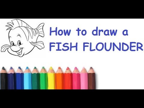Как нарисовать рыбку Флаундер из мультика Русалочка How to ...