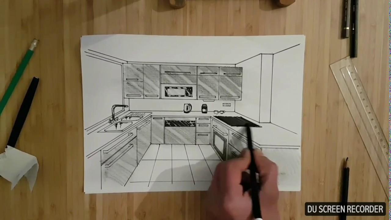 tuto cuisine en perspective dessin