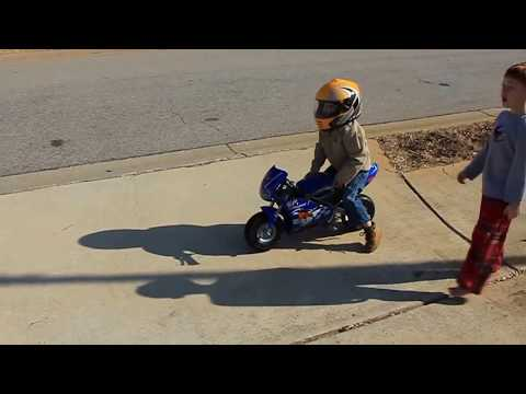 pocket bike and a 3 year old  Razor pocket rocket Nathan Lyon @3 rides his first bike