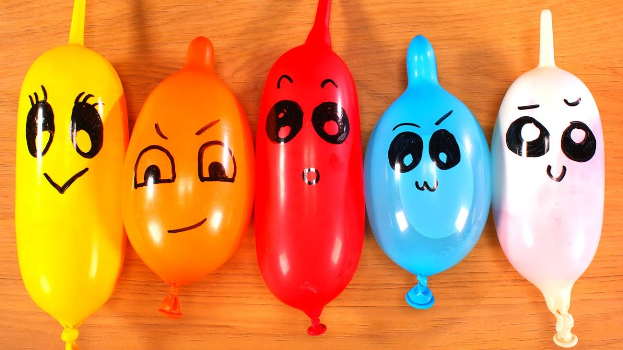 Making Slime At Home With Funny Faces Balloons