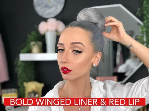 BOLD WINGED LINER & RED LIP TUTORIAL   candicelanexo