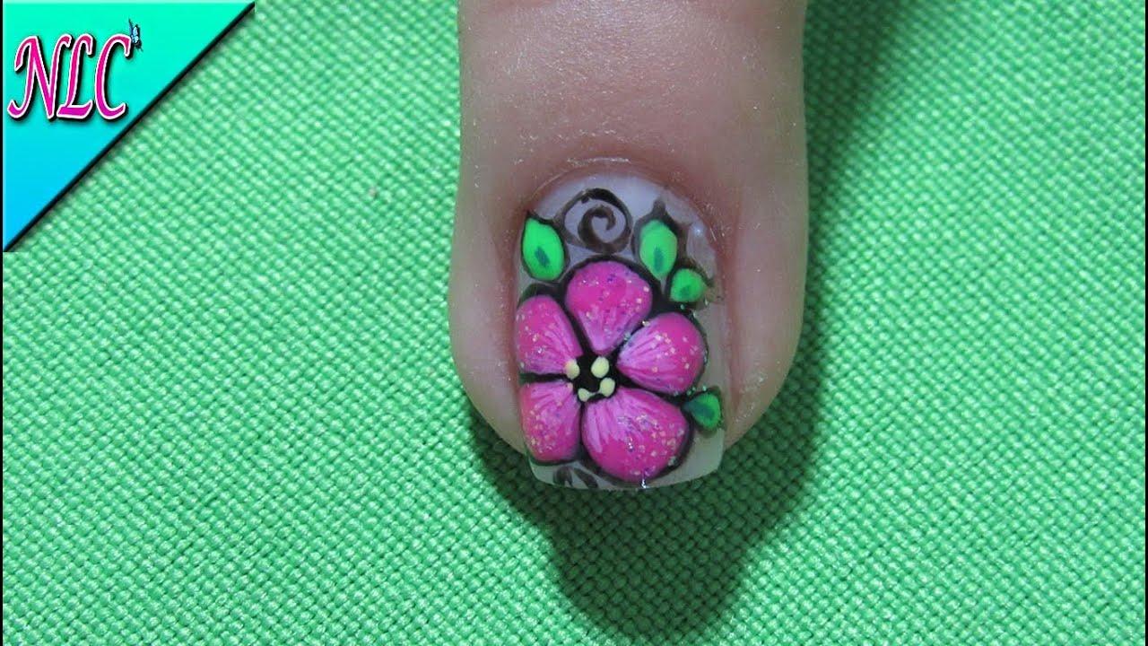Increíble Diseños De Uñas Del Dedo Del Pie De Flores Hawaiano ...