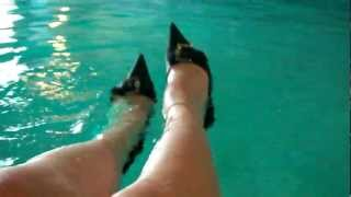 Wetlook - wet white socks in the pool with dress shoes 2