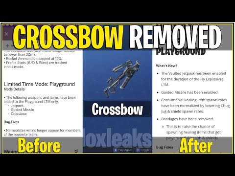*NEW* Fortnite: EXPLOSIVE CROSSBOW REMOVED FROM PLAYGROUND LTM!   (Epic Secretly Removed)