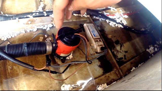 Positioning a bilge pump and float switch in a boat - YouTube