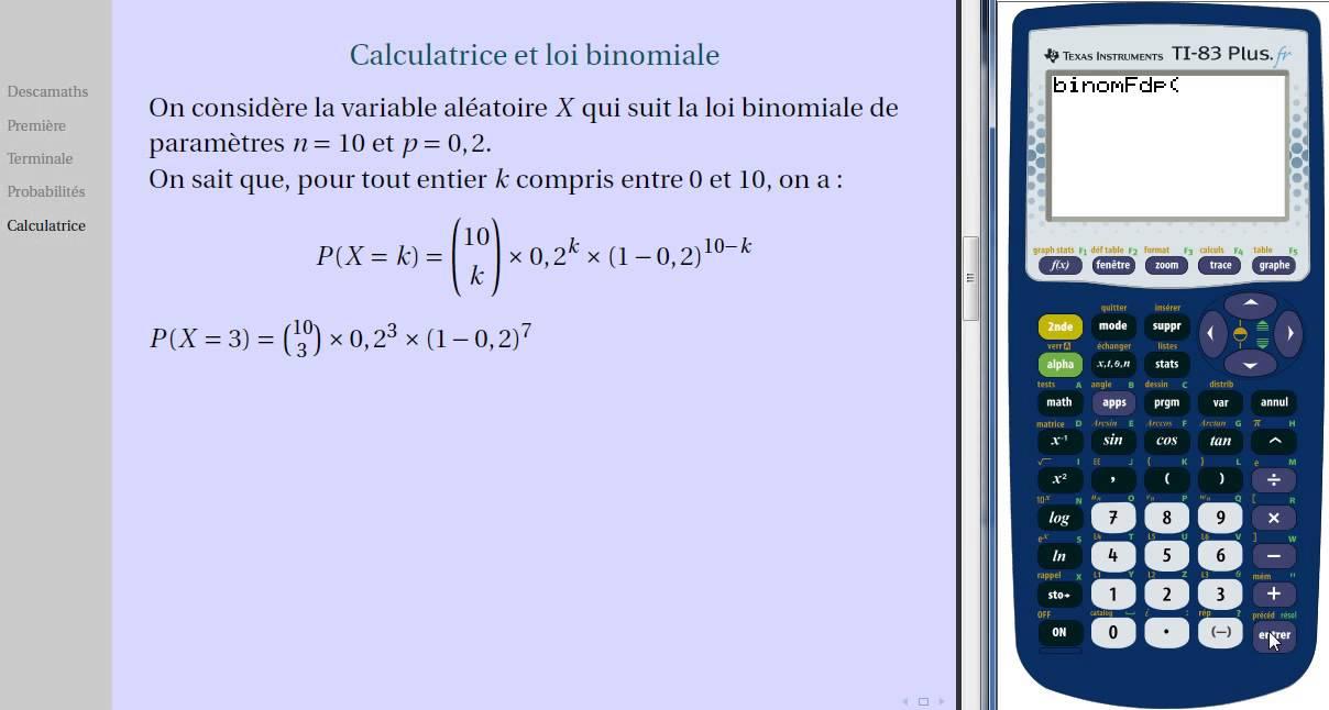 Calculatrice Et Loi Binomiale Youtube