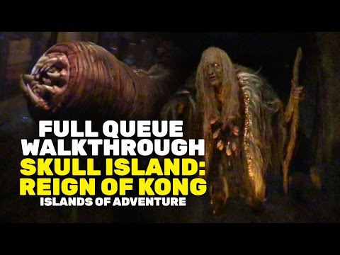 Full Queue Walkthrough - Skull Island: Reign of Kong at Universal Orlando with Animatronics & Scares