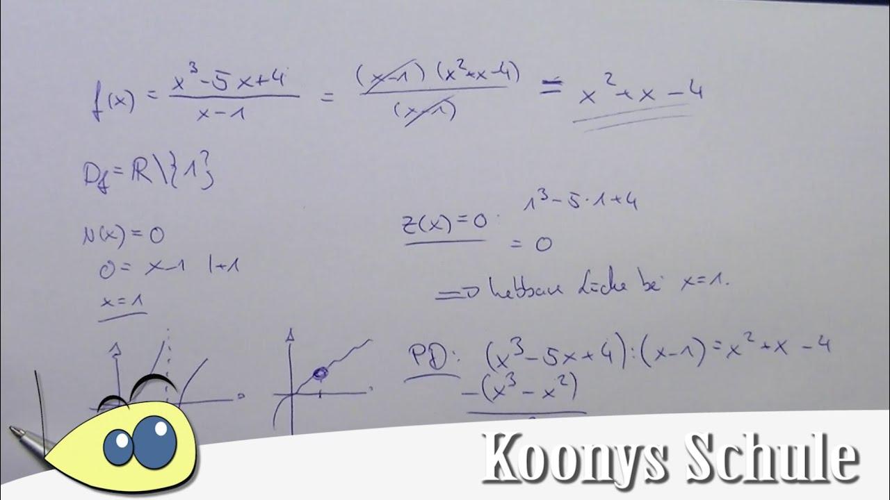 Beispiel, hebbare Lücke, Definitionslücke, Polynomdivision ...