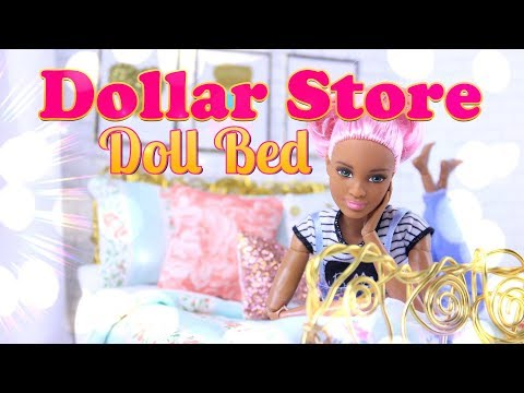 DIY - How to Make: Dollar Store Doll Bed - Handmade Dollhouse Crafts
