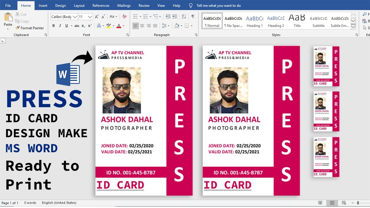 Blank Press Id Card Template Free Jpg Illustrator Word Apple Pages Psd Publisher Template Net Id Card Template Card Template Card Templates Free