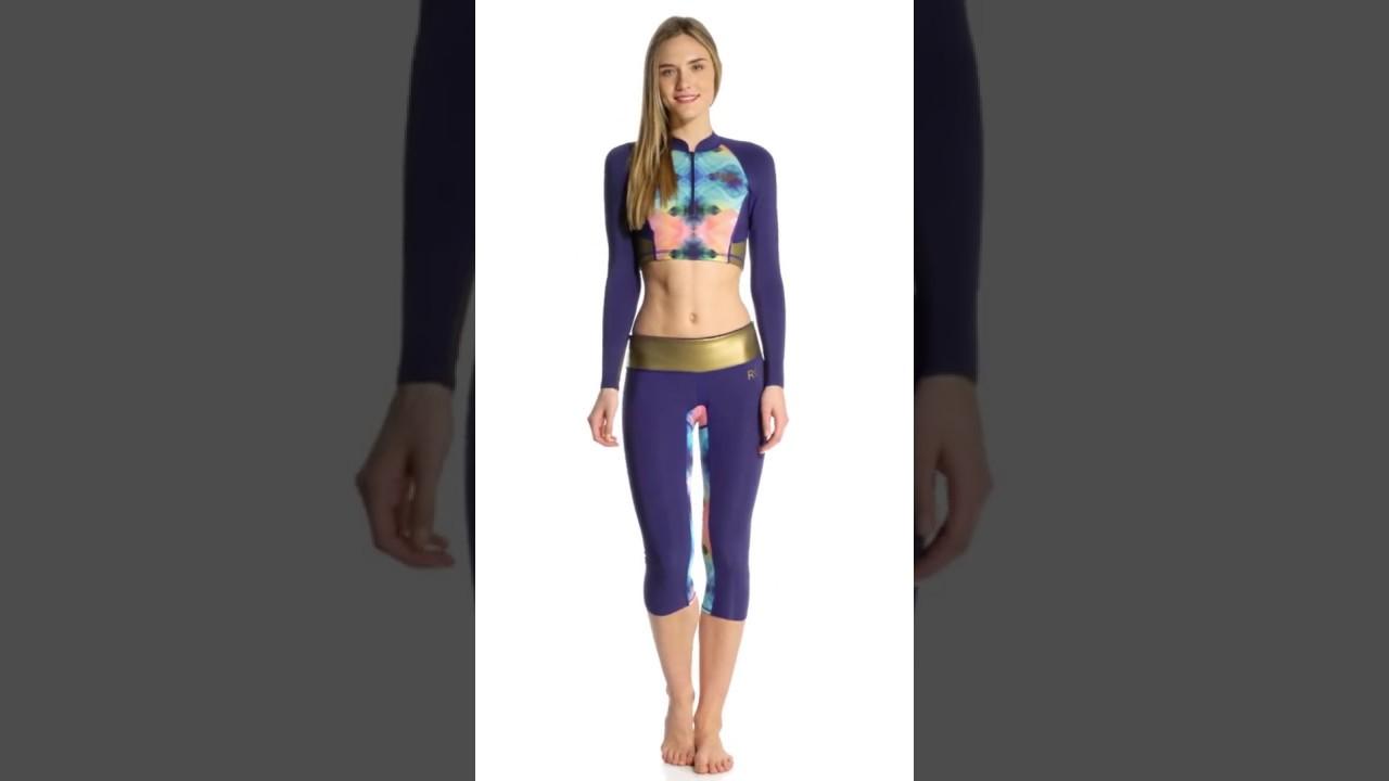 8c3f9dbaff Roxy Women s 1MM Popsurf Front Zip Long Sleeve Crop Wetsuit Jacket ...