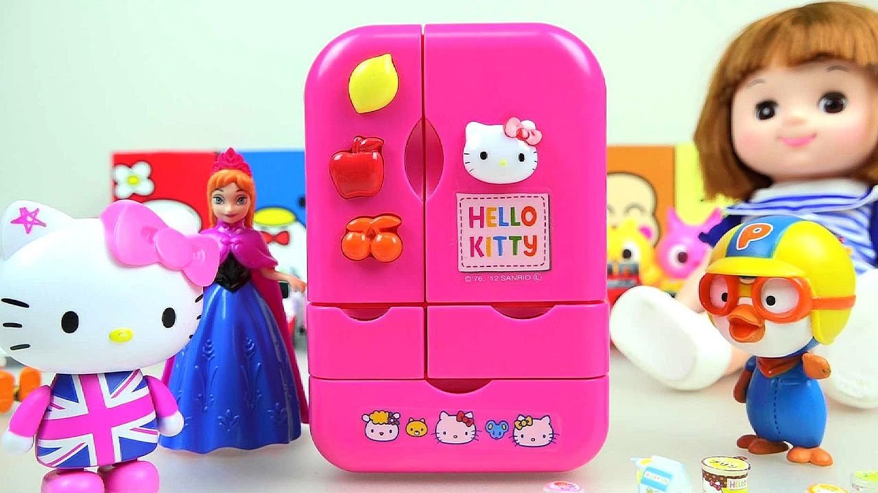 Toy Hello Kitty Watch : Hello kitty refrigerator toy with baby doll pororo youtube