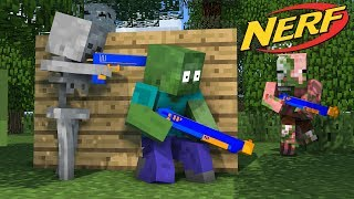 Monster School : NERF WAR CHALLENGE - Minecraft Animation