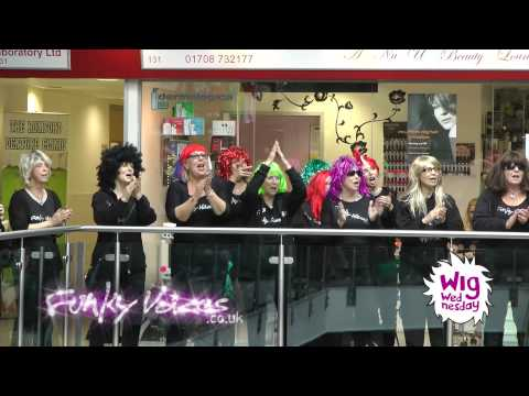 Funky Voices supporting CLIC Sargent for Wig Wednesday at Romford Shopping Hall, May 2014