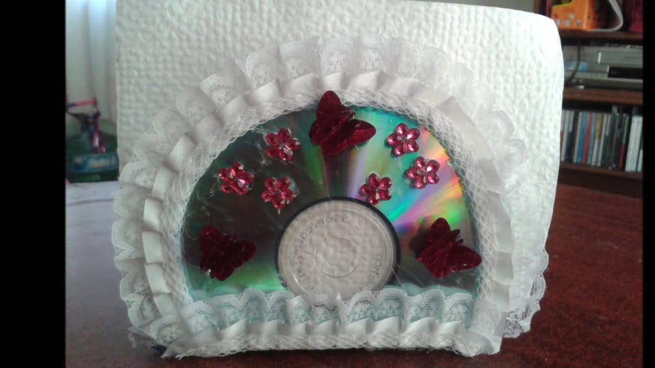 Diy servilletero hecho con cds reciclados diy napkin holder made with recycled cds youtube - Porta cd fai da te ...