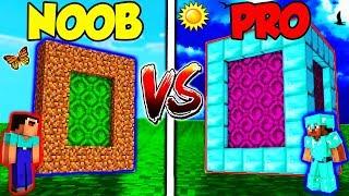 Minecraft - NOOB vs. PRO - DIAMOND PORTAL vs DIRT PORTAL