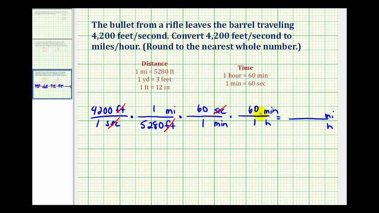 worksheet Converting Feet To Miles ex convert feet per second to miles hour youtube hour