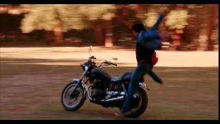 Wet hot motorcycle arrival by Paul Rudd