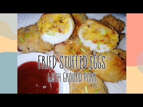 How to make Fried Stuffed Eggs with Ground Pork   Deviled Eggs   Relyenong Itlog