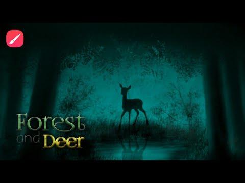 Forest and deer | infinite painter tutorial | digital painting