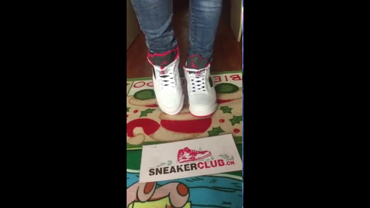 13cf1db4e194ab on foot review for air jordan 5 low fire red - YouTube