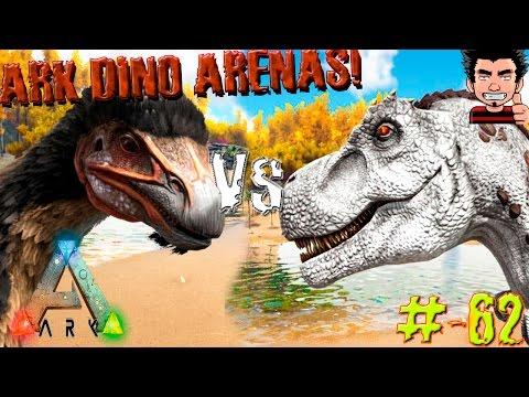 ARK Survival Evolved Therizinosaurus VS T-REX Batallas dinosaurios arena gameplay español