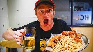 Korean Nightlife in Seoul Eating KFC (Korean Fried Chicken) + Korean Beer and Soju