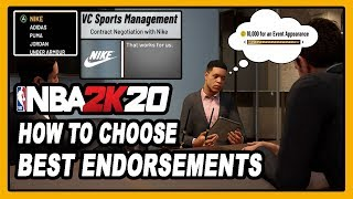NBA 2K20 HOW TO CHOOSE BEST ENDORSEMENT AND GET MAX VC! 10K VC EVENT CHECKS! DENSKI CERTIFIED!