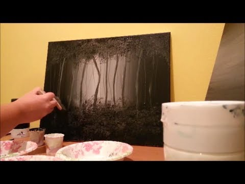 how to paint a misty forest black and white step by step youtube. Black Bedroom Furniture Sets. Home Design Ideas