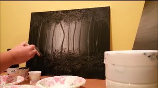 How to paint a misty forest -  BLACK and WHITE - step by step