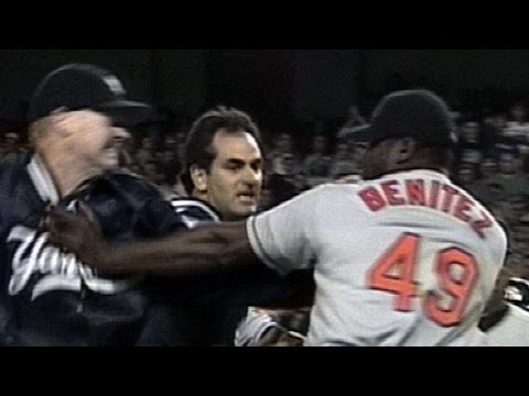 Tino Martinez drilled in the back, a wild brawl ensues