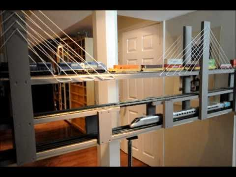 HO Model Train Shelf Layout  Update:  The Bridge and The City.wmv