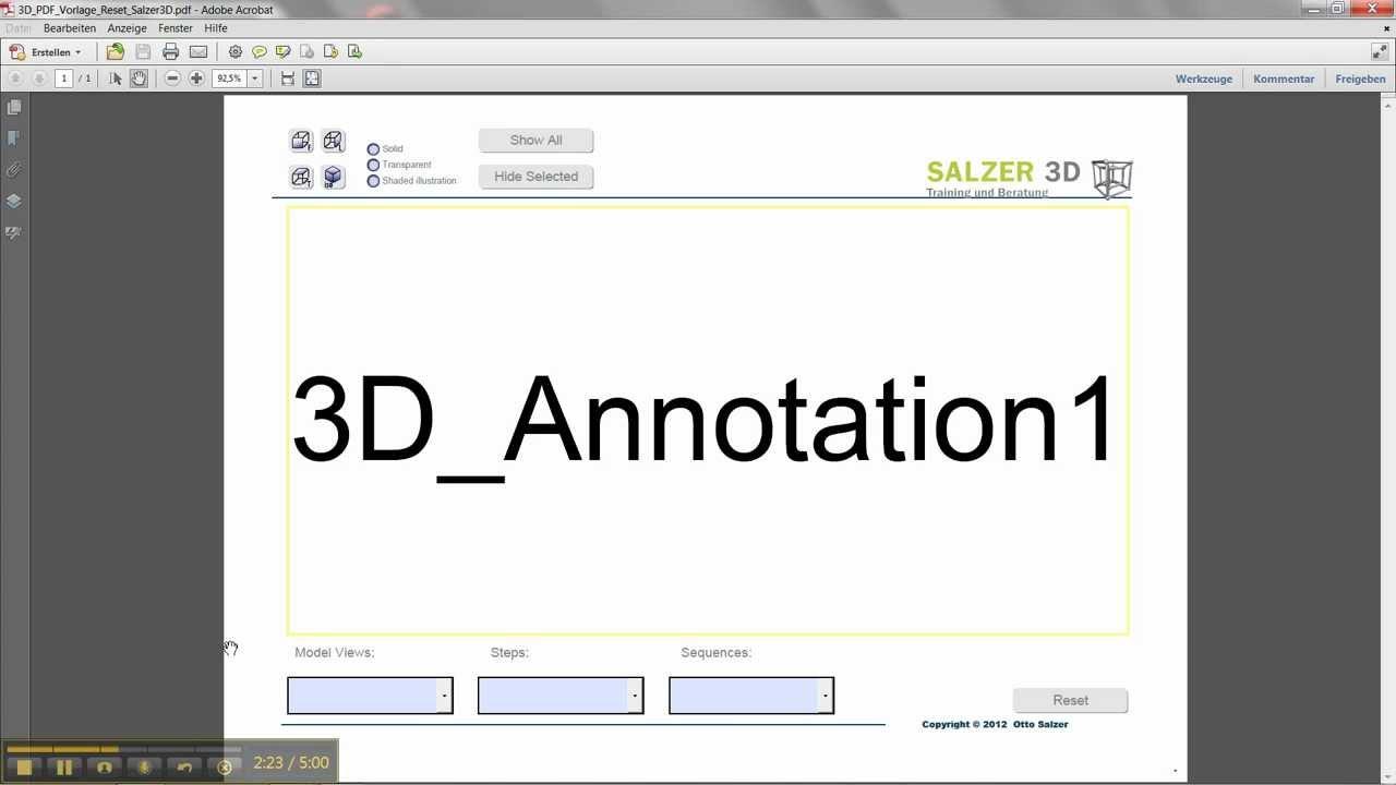 3D PDF Vorlage erstellen (3D PDF Teil 1) - YouTube