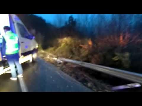 Un herido al despeñarse un coche por un terraplén en Pantón