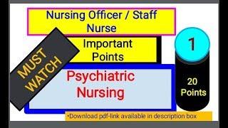 Psychiatric Nursing Care -Quick Points-1 #AIIMS #NURSINGOFFICER #PSYCHIATRICNURSING