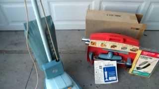Vintage 1960's Eureka Upright Light Blue Cordaway  Vacuum Cleaner Model 2050